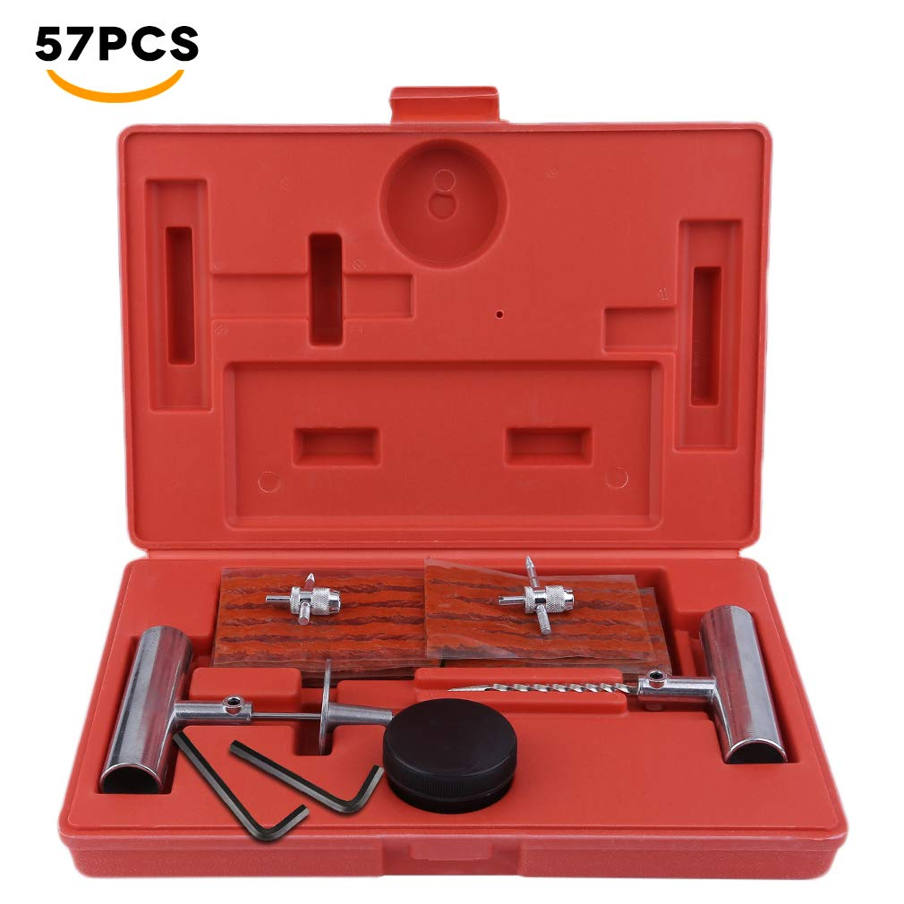OKAYO 57pcs Wheel Tire Repair Kit Tool Set in Plastic Box for Flat Cars Auto Truck Motorcycle Puncture Mending