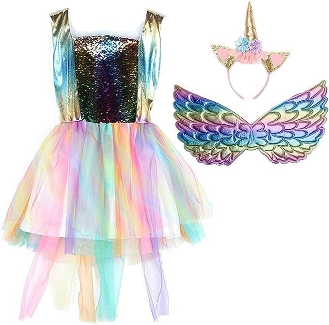 Yeesn - Vestido de tul de malla de unicornio para niñas con ...