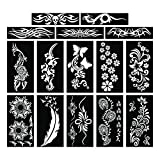 PARTH IMPEX Henna Tattoo Stencils (Pack of 15) Self Adhesive Body Paint Designs Temporary Mehndi Drawing Hand Arms Shoulders Chest Lower Back Legs Tribal Template