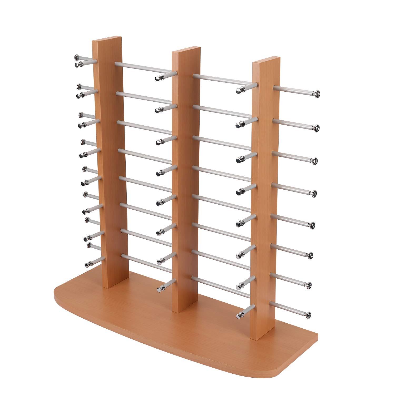 Polmart Tabletop Solid Wood Eyewear Display Rack, Triple Towers (Hold 24 Pairs)