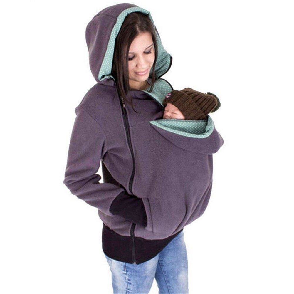 LUCKY COMPANY Känguru Mama Hoodie Pullover Mit Reißverschluss Babywarmer Schlafsack Im Herbst und Winter, Abnehmbar, Baby und Haustier Halter