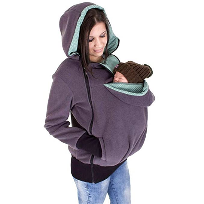 Xuanlan Mujeres Embarazadas Sudadera con capucha de canguro de maternidad Casual Sudadera Suéter con capucha de