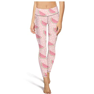 juiertj rt Long Exercise Watermelon Slices Fruit Leggings Attractive Women  Sweat-Wicking Fitness Pants for bf5199b68