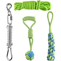 Balacoo Spring Pole Dog Rope Toys Outdoor Hanging Exercise Play Pull Dog Toys Muscle Builder (Green 5M)