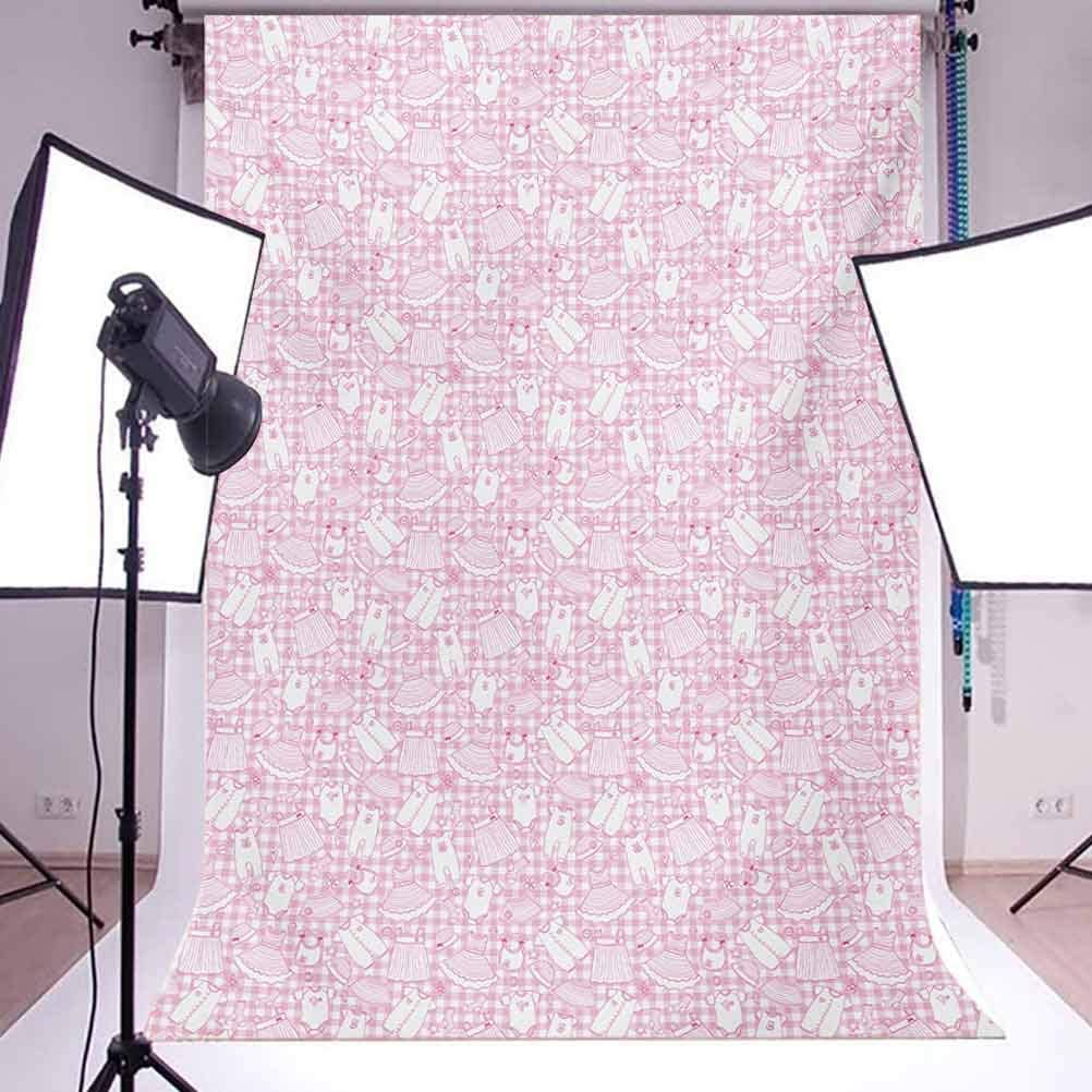 Baby 8x10 FT Backdrop Photographers,Newborn Girl Clothes with Checkered Background Hearts Stars Flowers Dresses and Hats Background for Baby Shower Bridal Wedding Studio Photography Pictures Pink WHI