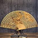 ZJSZZH Faltfächer Klassische Fan Entfernt Geschenk Fan Sandelholz Handwerk Fan Wenwan Sandelholz Fan Chinesischen Stil Faltfächer, ArmyGreen
