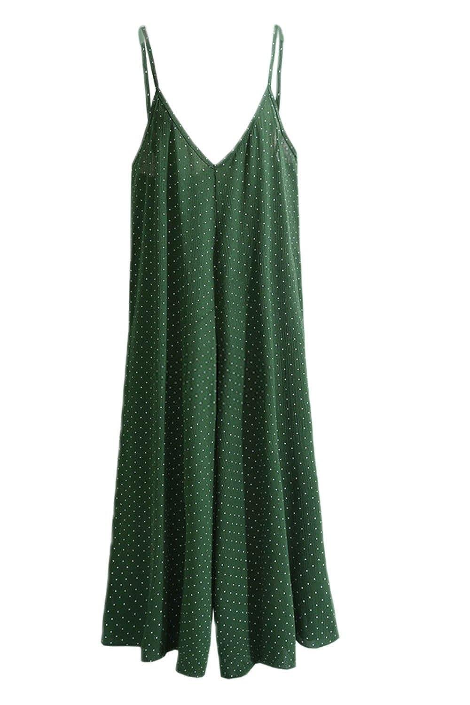 ee23c4b7cee Amazon.com  YACUN Women s Polka Dot Slip Culotte Jumpsuit Summer Overall  Pants  Clothing
