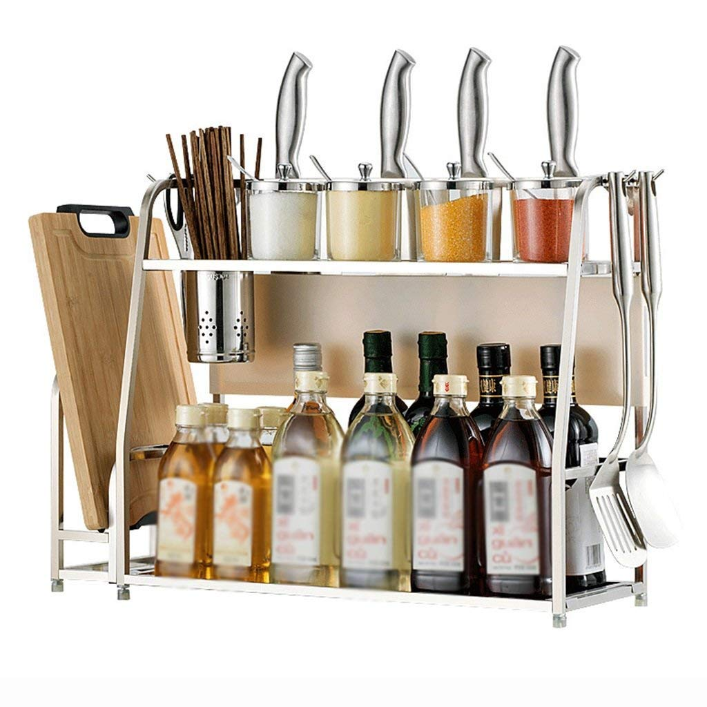 キッチン収納機構WSSFステンレススチールキッチン調味料棚壁掛け家庭用キッチン用品収納ラック(スタイル任意、50 * 20 * 42 cm)(色:スタイル3) (色 : Style 4) B07SBZZT6G Style 4