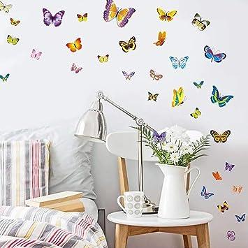 WandSticker4U- 50 Bunte Schmetterlinge zum Kleben | Wandtattoo ...