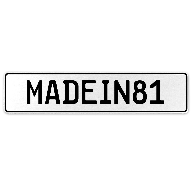 Vintage Parts 555569 MADEIN81 White Stamped Aluminum European License Plate