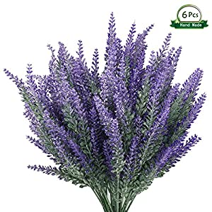 Wansong 6Pcs Artificial Lavender, Plastic Flowers Plants Faux Simulation Wedding Indoor Outdoor Bridal Bouquet Home Garden Office Kitchen Bathroom Balcony Wedding Arrangement Decoration 35