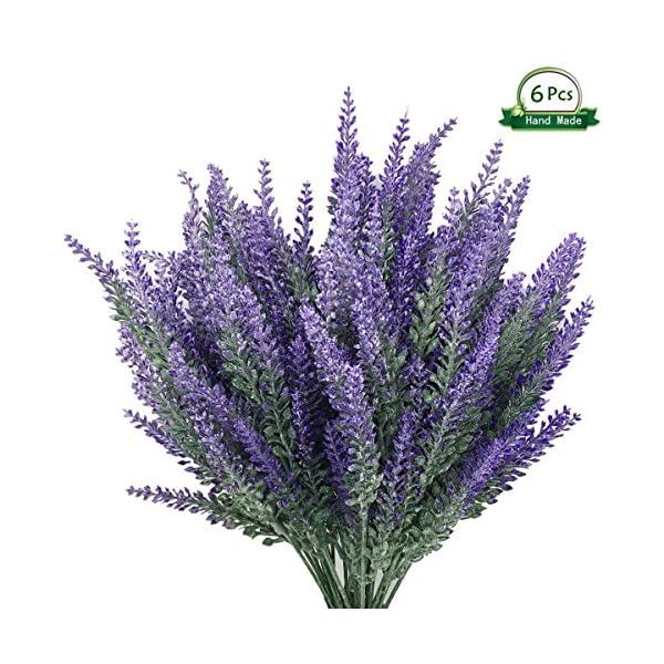 Wansong-6Pcs-Artificial-Lavender-Plastic-Flowers-Plants-Faux-Simulation-Wedding-Indoor-Outdoor-Bridal-Bouquet-Home-Garden-Office-Kitchen-Bathroom-Balcony-Wedding-Arrangement-Decoration
