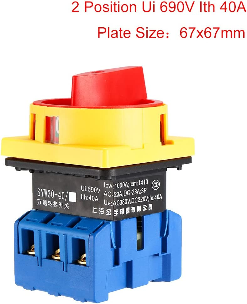 uxcell Changeover Switch 2 Position Rotary Selector Cam Switch Panel Mount 6 Terminals Latching Ui 660V Ith 80A