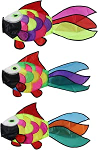 9KM DWLIFE 3Pcs Rainbow Fish Windsock Cute Wind Spinner 32 Inch Outdoor Hanging