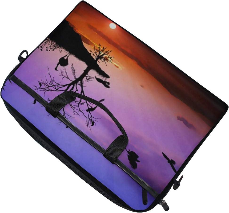 Briefcase Messenger Shoulder Bag for Men Women College Students Business People Office Worker Laptop Bag Wildlife Sunset 15-15.4 Inch Laptop Case