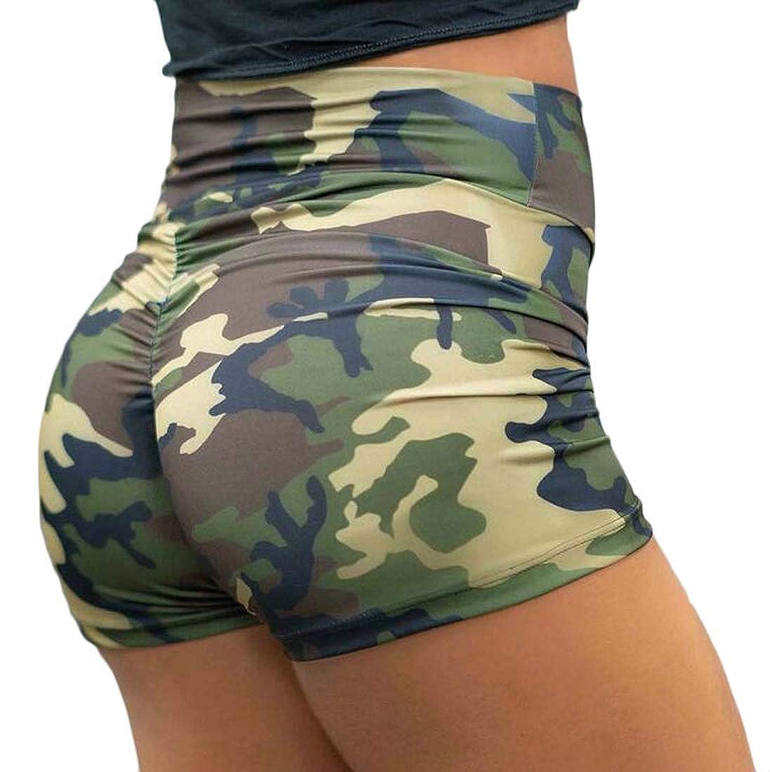 Jotebriyo Women Gym Workout Skinny Camo Print Summer Stretchy Workout Shorts