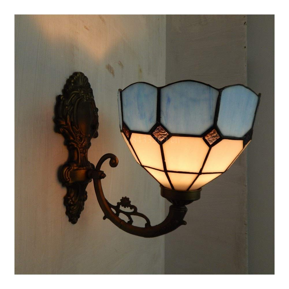 Soft Lighting 8inch Handmade Wall Chandelier,Bracket Light with Stained Glass European Style Home Decoration Handmade (Color : 2)