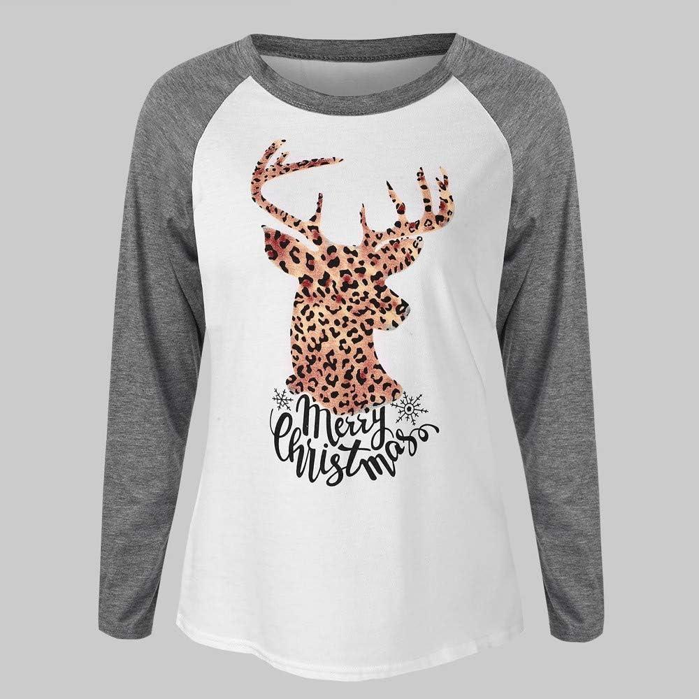 Merry Christmas Tops Ladies Xmas Elk Printed Tee Shirts Raglan Long Sleeve Pullover Blouse