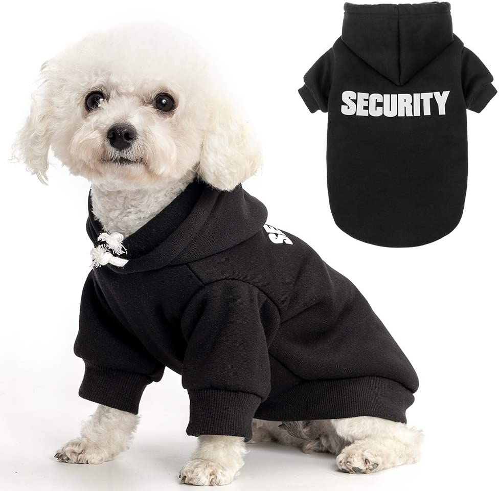 Dog Hoodie Pet Clothes - Security Printed Pet Sweaters with Hat Soft Coat Winter for Small Medium Large Dogs Cats