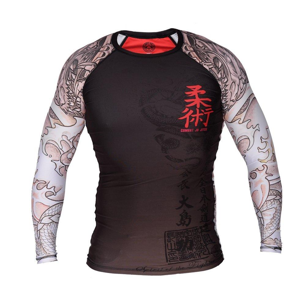 Dirty Ray Arti Marziali MMA Combat Jiu-Jitsu Maglietta a Compressione Rashguard Maniche Lunghe Uomo RG2LS