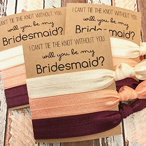 Set of 5 Bridesmaid Proposals | I Can't Tie the Knot Without You...Will you be my | Hair Tie Favors (Ivory, Peach, Burgundy Hair Ties)