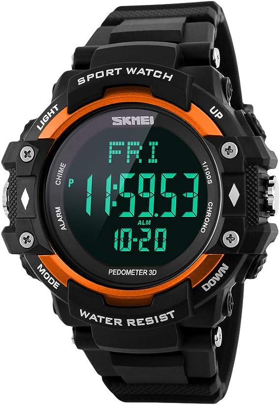 Reloj Digital Hombre,Monitor de frecuencia cardíaca del podómetro ...