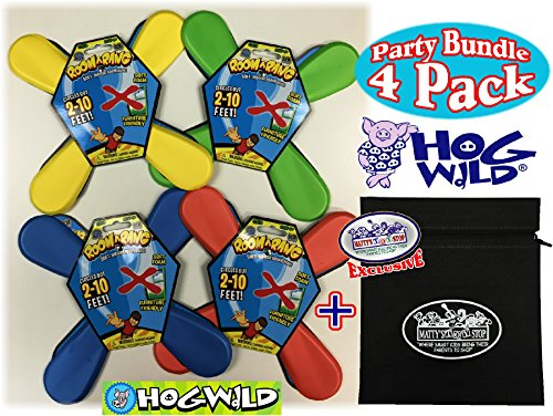 (Hog Wild Room A Rang (Soft Indoor Boomerangs) Blue, Red, Green & Yellow Party Set Bundle with Exclusive