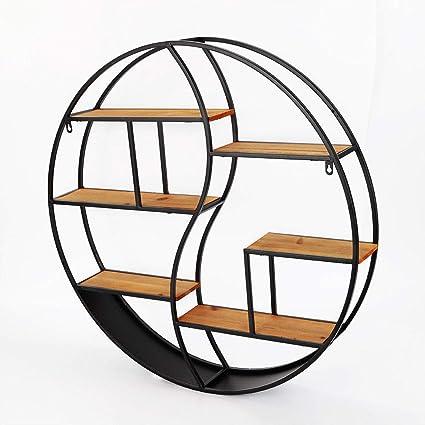 SENDERPICK Estantería de pared redonda vintage, estantería de almacenamiento de madera de metal flotante con marco de estantes, estante decorativo de ...