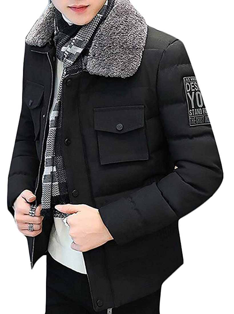 CBTLVSN Mens Faux Fur Collar Ultra Loft Quilted Packable Jacket
