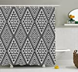 Ambesonne Geometric Shower Curtain, Diamond and Triangle Diagonal Shaped Symmetric Aztec Folk Ethnic Pattern, Fabric Bathroom Decor Set with Hooks, 75 Inches Long, Black and White