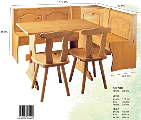 La Factoría Muebles - Conjunto rinconera + mesa + 2 sil, talla ...