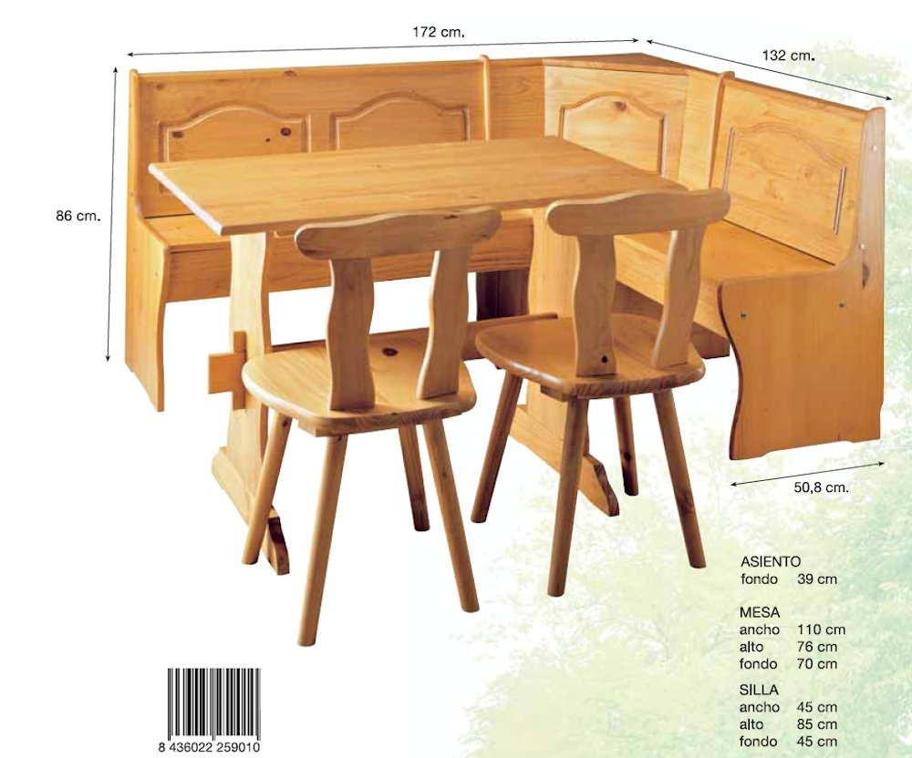 Mesa rinconera para cocina mesa de cocina de madera con - Rinconeras de madera ...