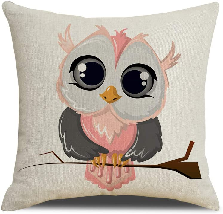 QIQIANY Cute Owl Pillow Case 18''x18'' Square Cotton Linen Home Decor Animal Theme Owl Cushion Cover Pillowcase with Hidden Zipper for Sofa Bedroom