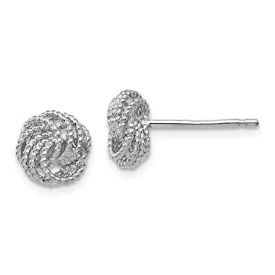 d9f6d6032 Image Unavailable. Image not available for. Color: Jewelry Best Seller Leslies  14k White Gold Textured Love Knot Post Earrings