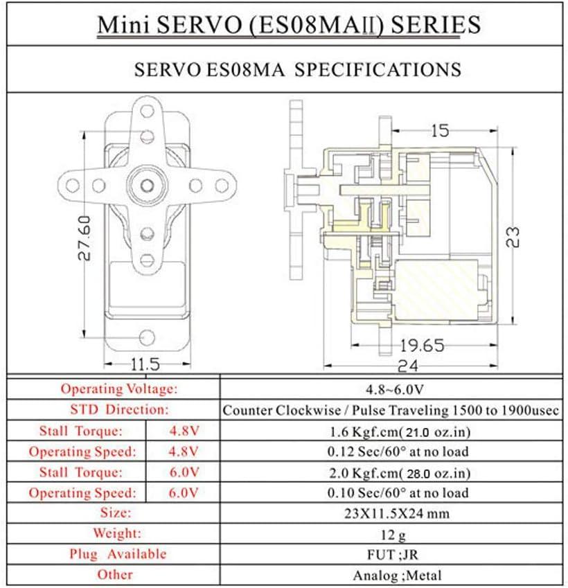 1,8 kg Mini Metal Zahnradservo Hochgeschwindigkeits TD 4X EMAX ES08MA II 12 g