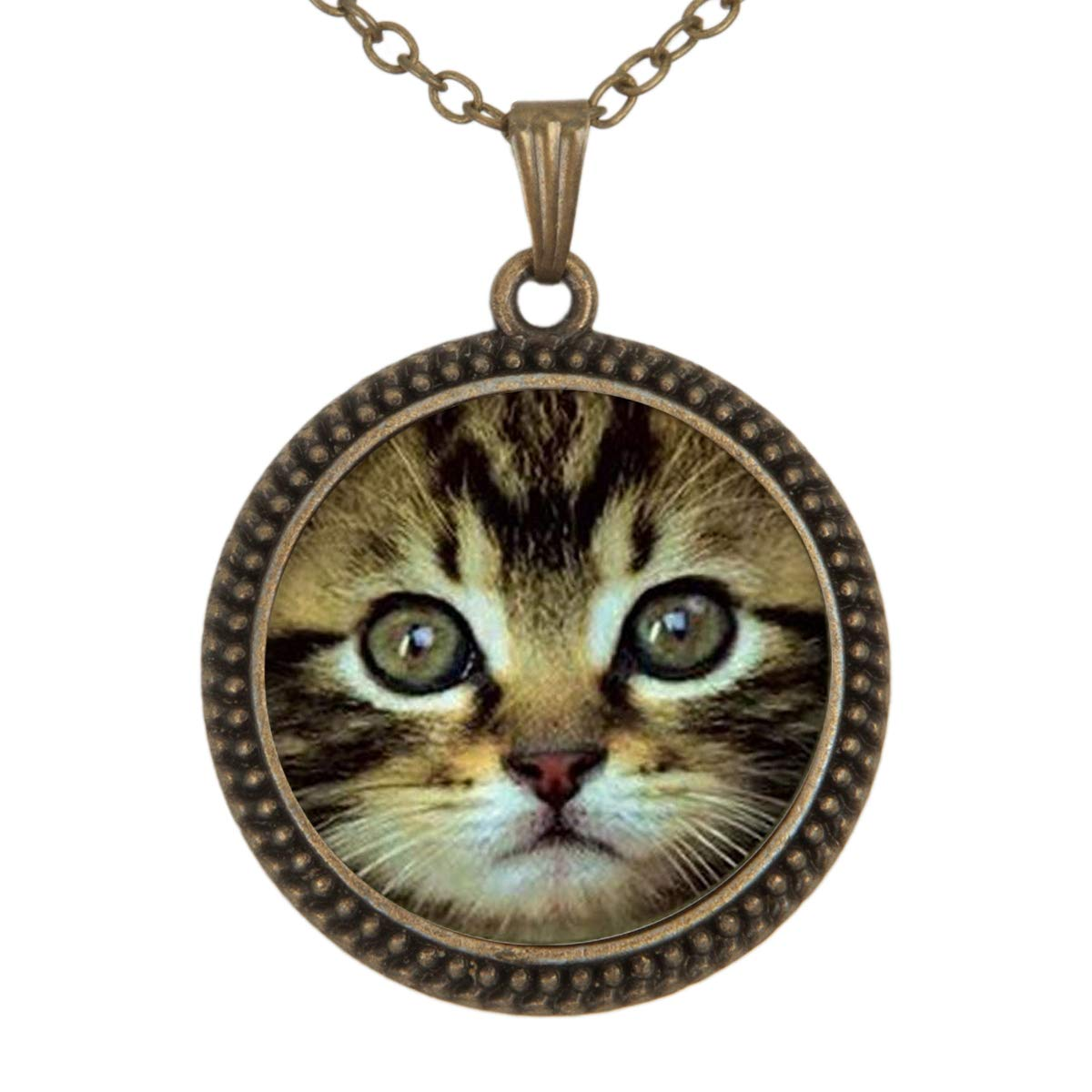 Lightrain Cute Cat Face Pendant Necklace Vintage Bronze Chain Statement Necklace Handmade Jewelry Gifts