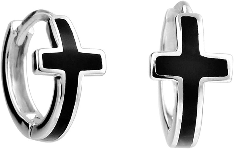 AnaZoz 1 Par Joyería de Moda Pendientes de Mujer Cruz Pendientes Plata de Ley 925 Pendientes Cruz pendientes Aro Pendientes Plata Negro Pendientes Para Mujer