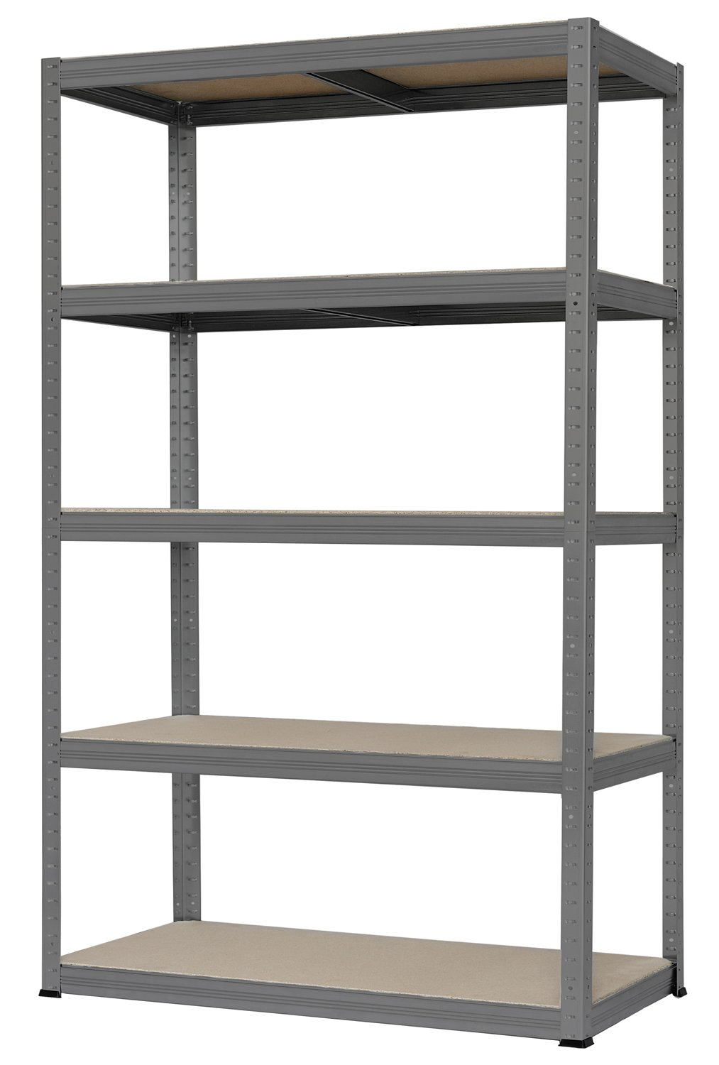 Hans Schourup wide span shelf with 5 shelves, made of MDF, load capacity of up to 250 kg per shelf, 180 cm x 120 cm x 60 cm, in grey, 13501100