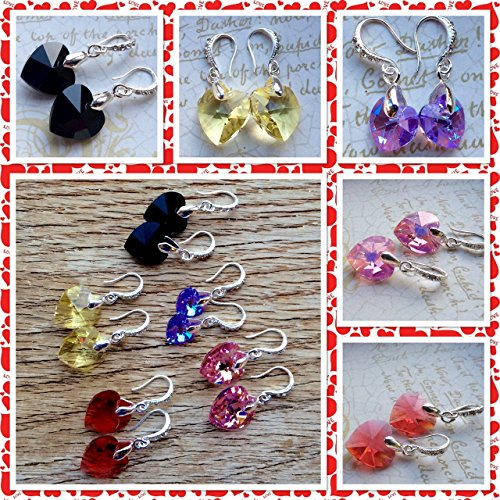 Swarovski Heart Earrings - Crystal Heart Earrings - Valentine's Earrings - Heart Earrings - Heart Jewelry - Swarovski Earring - Drop Earring