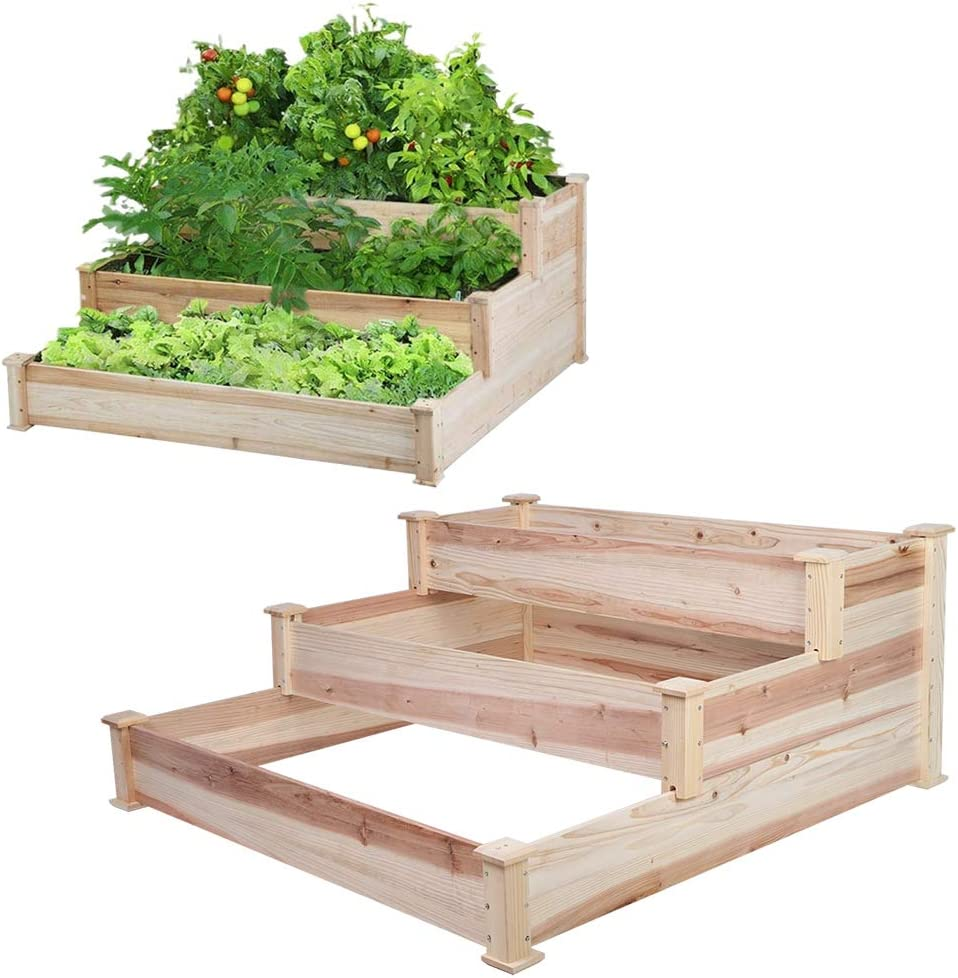 POCREATION 3 Tier Wooden Elevated Raised Garden Bed,Planter Kit Grow Gardening Vegetable Natural Cedar Wood,48.4x49.0x20.9inch