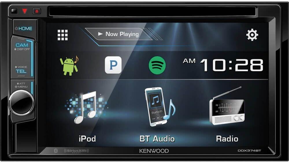 Kenwood DDX374BT 2-DIN Bluetooth in-Dash CD//DVD//DM Receiver with 6.2 Touchscreen