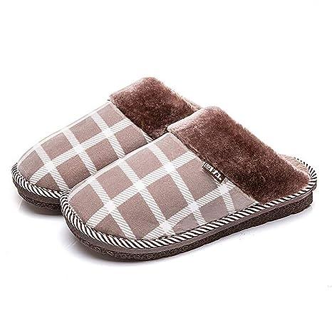 SHANGXIAN Algodón Pantuflas Hombres Casa Pantuflas para Mantener El Calor Zapatos Invierno Antideslizante Suave Chancletas,