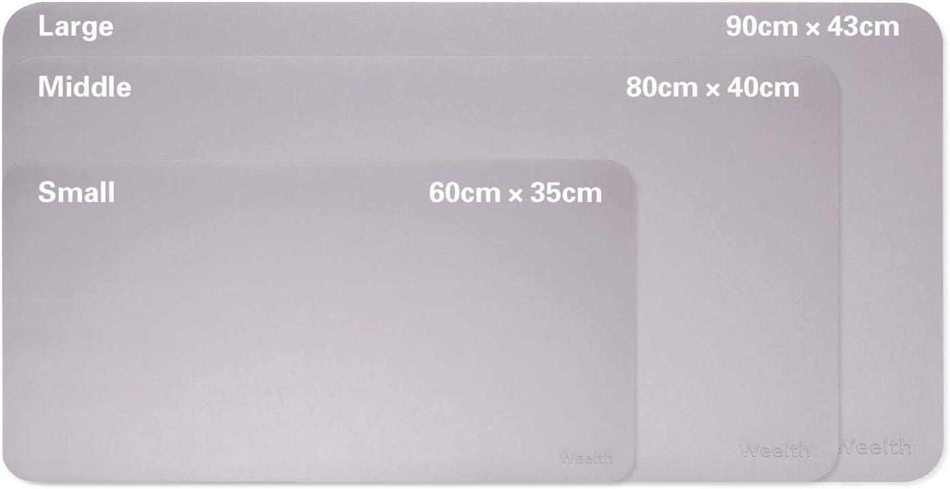 Ultra Sottile 2 mm Antiscivolo e Impermeabile PU Pelle Tappetino per Ufficio Super-Portable Doppio Lato sottomano Weelth Tappetino per Mouse Ufficio 900 * 450mm, Grigio//Argento