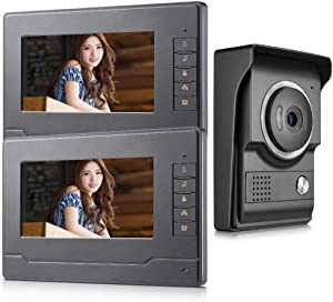 AMOCAM Wired Video Intercom Doorbell System 7 Inches LCD Monitor Video Door Phone Kits Support Monitoring, Unlock, Dual-Way Door Intercom for Villa Home Security Systems 1-IR Camera 2-Color Screen