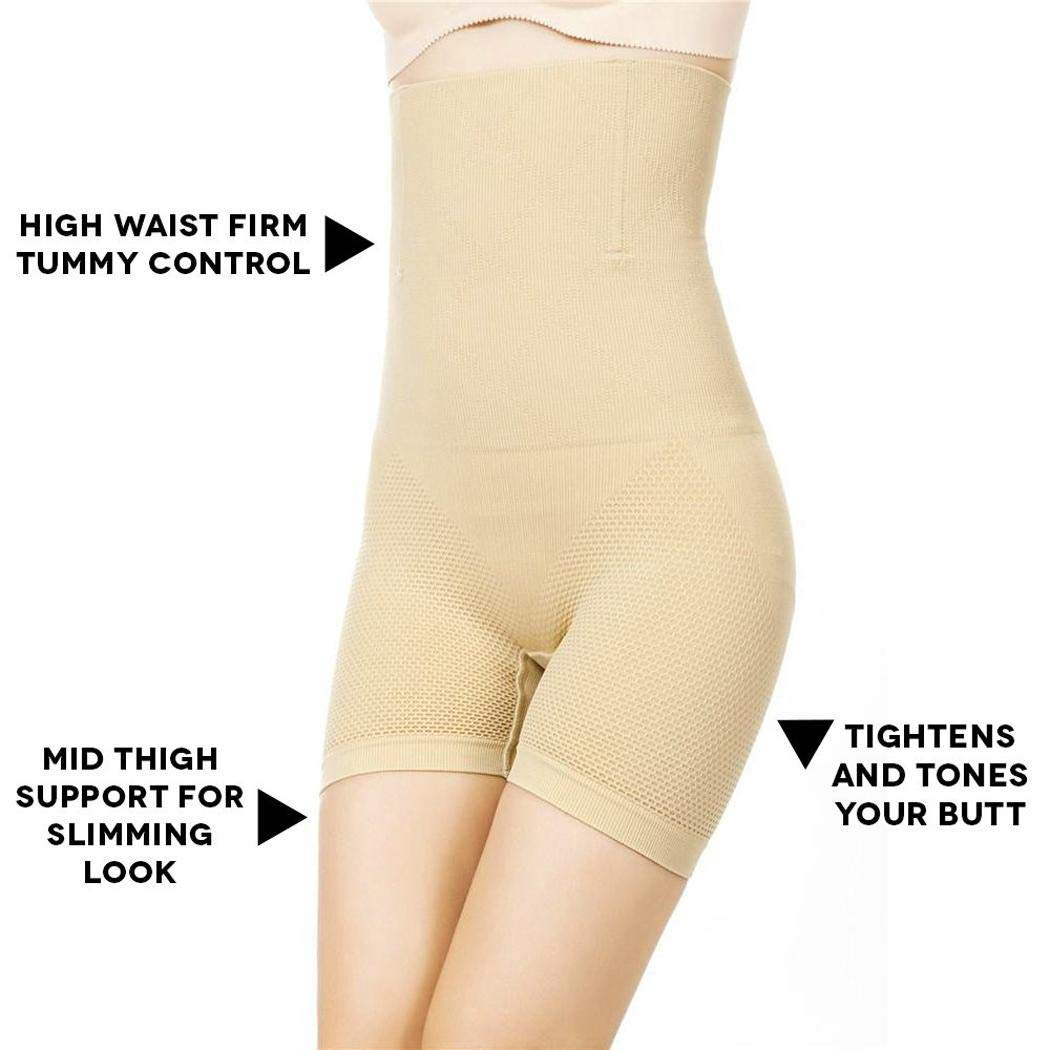 cokil Women Seamless Elastic High Waist Lifting Hip Body Shaping Knickers Control Panties Nude