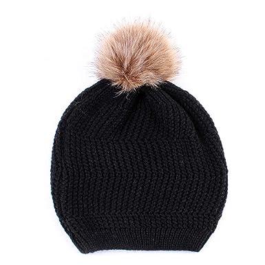 353ea864d06 yangfr Warm Winter Snowboarding Ski Hat with Faux Fur Pom