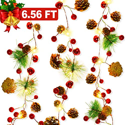 Christmas Garland with Lights, Christmas Pinecone Lights Battery Operated 6.56FT 20 LED Red Berry with Pine Cone Xmas Decor Garland Lights Indoor Outdoor Christmas Holiday New Year Decorations