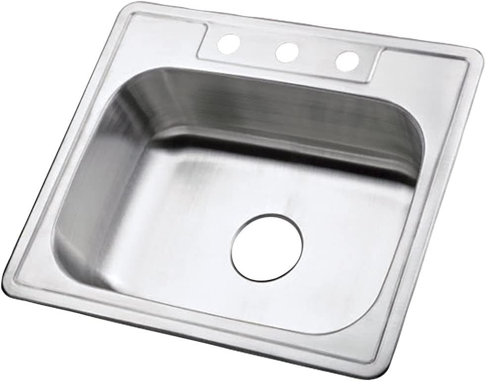 Kingston Brass K25228BN 22 Gauge Single Bowl Stainless Steel Self-Rimming Kitchen Sink, Brushed Nickel