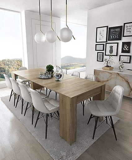 Home Innovation Table Console Extensible Rectangulaire Avec Rallonges Jusqu à 237 Cm Pour Salle à Manger Et Séjour Chêne Clair Brossé Jusqu à