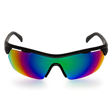 CASPAR Herren stylische Sportbrille / Sonnenbrille mit verspiegelten Gläsern und Flexbügeln - viele Varianten - SG035, Farbe:schwarz / multicolor verspiegelt
